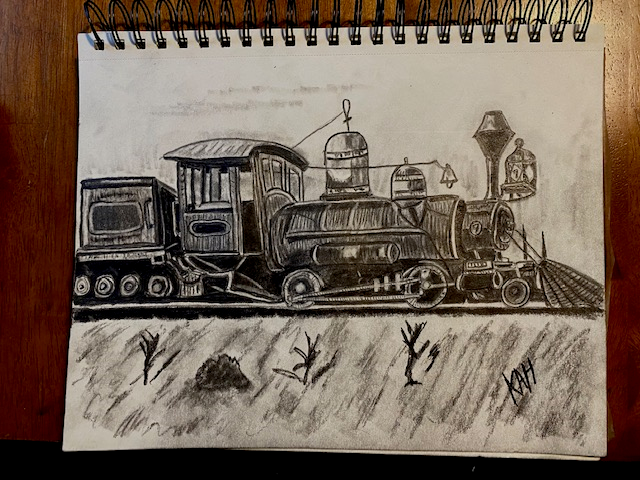 Side Train pencil sketch