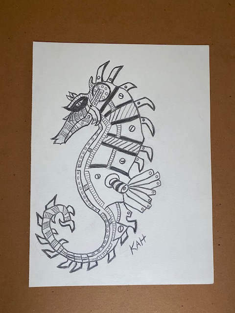 Steampunk Seahorse on Drawing Sketch Paper